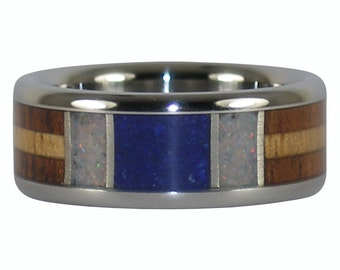 Azurite and Ulexite Titanium Ring