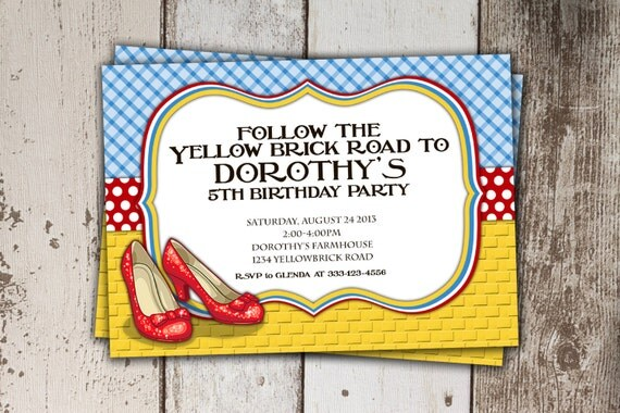 Wizard of Oz Birthday Invitation Follow the Yellow Brick