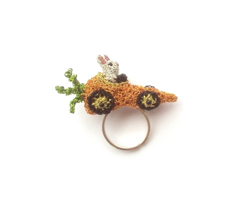 Custom made rabbit driving a carrot car ring by otherworlds