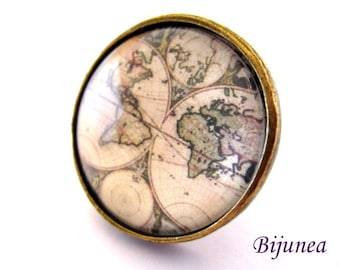 Map ring - Adjustable world map ring - Solid map ring - World ring r874