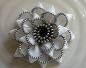 White Vintage Recycled Zipper  Flower Brooch or Hair Clip