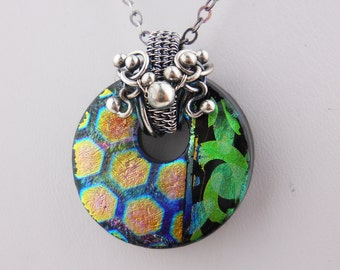Double Etched Dichroic Fused Glass Pendant.