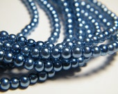 3mm round blue glass pearls, strand aprox. 26 inches