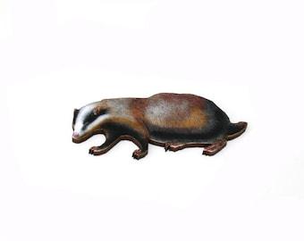Badger Brooch, Woodland Badger Illustration, Wood Jewelry, Animal Brooch