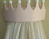 Pink Princess Bed Crown Valance / Canopy / Cornice for Girls Room - Flush Mount
