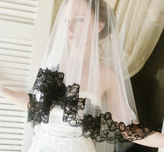 Special Price FAERIE black and White wedding veil with Beautiful French lace edges white mantilla veil white lace veil white tulle veil
