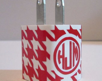 USB Wall Charger Houndstooth Monogram Wrap