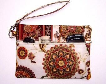 Floral Gold Clutch Wristlet, Rust Cream Purse, Floral Wallet, Cream Gold Wristlet, Gold Flowers Makeup Bag, Floral  Phone Holder
