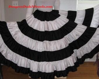DDNJ Choose Color Combo Multi Tier Silky Taffeta Skirt Plus Custom Made ANY Size Fabrics Renaissance Steampunk Pirate Gypsy Belly Dance Larp