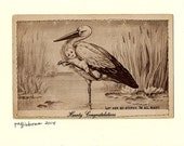 Patti Gibbons handmade OOAK Blank Greeting Card Antique postcard Stork with Baby Congratulations