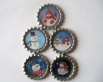 Cute Snowmen Flattened Bottle Cap Magnets Set of 5