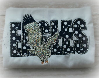 Eagles Sillouette Embroidery Applique Design