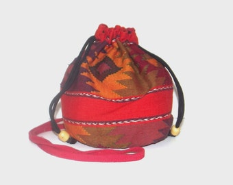 1990s purse / vintage 90s handbag / bucket / Guatemalan Draw String Handbag