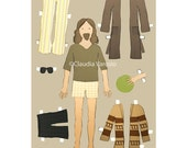 The Big Lebowski the Dude paper doll 12x18 inches print