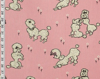 Pink poodle fabric French girl retro mid century interior home decorating material decor cotton 1 yard