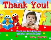 Sesame Street Babies Birthday Invitations with Matching Thank You Card