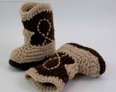 Baby  Booties  Two Tone Brown Crochet Cowboy Boots