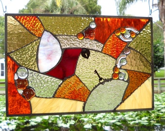 Stained Glass Window Panel, Glass Crazy Quilt, Patchwork Quilt, Suncatcher Mixed Media, One of a Kind Stained Glass Window Transom, OOAK