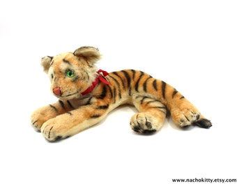1950s Large Tiger Toy, Germany Steiff Tiger, Handmade German All Natural Vintage Stuffed Animal