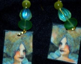 original art beaded earrings green woman Marie Antoinette