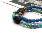 Blue Green Modern Beaded Bracelet / Ocean Colors Stretch Bracelet with Pod Focal