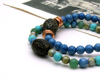 Blue Green Modern Beaded Bracelet, Ocean Colors Stretch Bracelet, For Her Under 50