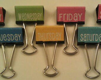 Days of the Week Binder Clips Get Organized