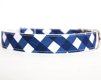 Gingham Dog Collar in Navy