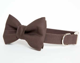 Dog Bow Tie Collar - Chocolate Brown