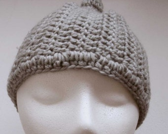 deadstock vintage hand-knit crocheted gray beanie cap