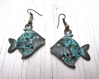 Fish Earrings: Green Patina Metal Fish