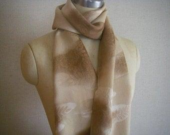 Japanese Vintage Silk Obi or Scarf(light brown)