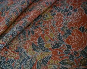 Vintage silk Japanese kimono fabric (orange,flower)very good condition