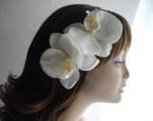 White Orchid Large Hair Accessory For Any Occasion Wedding Sash pin Clutch Clip Or For Any Occasion Ready To Ship