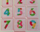 Pink and White Flash Cards Numbers 1 thru 10 - Quiet Book - Travel Game - Home School - Stroller - Memory Game - Car Game