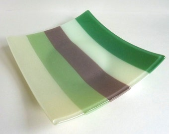 Fused Glass Plate in Stripes of French Vanilla, Willow, Mocha, Chalk and Mineral Green