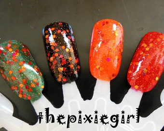 Orange Reddish-Orange Holographic Glitter Indie Dig For Fire Nail Polish Lacquer Handmade 2 Sizes Available