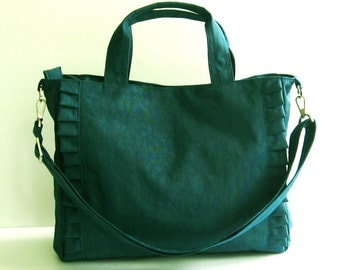 Sale - Dark Teal Nylon Tote, water resistant, purse, ruffles, diaper bag, travel bag - Minnie