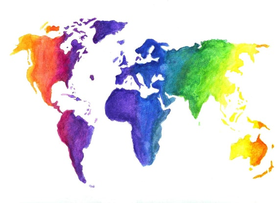 Watercolor World Map Print Earth in Rainbow Colors Hand