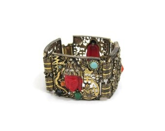 60s Bracelet Vintage Selro Selini Asian Princess Filigree Wide Cuff Bangle Red