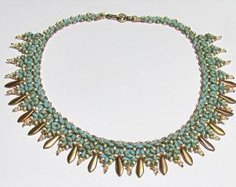 BAYA Amazing  Czech Daggerss and SuperDuo Beadwork Necklace tutorial instructions for personal use only