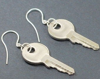 Silver Key Earrings- Upcycled Industrial Jewelry, Steampunk Jewelry, Steampunk Earrings, Found Object Jewelry