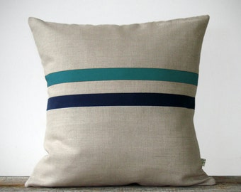 Teal and Navy Striped Pillow - 16x16 - Modern Home Decor by JillianReneDecor - Colorful Colorblock Stripes (More Colors)