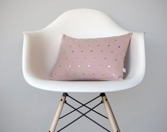 Studded Pillow Cover in Blush Linen in Polka Dot Pattern by JillianReneDecor   Geometric Pillow Home Decor Gold Brass Studs   Rose Quartz
