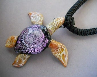 Sea Turtle Pendant with soft choker cord him or her jewelry