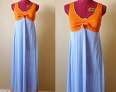 vintage Lorraine orange/blue nightie.  Small