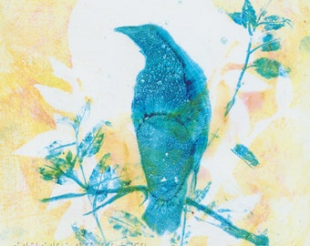Original Crow Art, Raven Wall Decor, Handpulled Print, Unique Raven Art. Crow Art Collectable, Lemon Yellow Blue Wall Decor