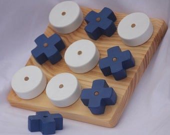 Toy Wooden Tic-Tac-Toe Game Dark Blue and White or Hugs and Kisses Game