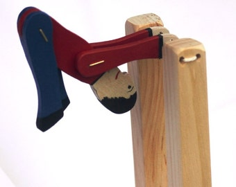 Toy Acrobat - Handcrafted Wooden Toy Acrobat - Travel toy- car, train, plane, Squeeze, release posts and watch puppet swing and do tricks