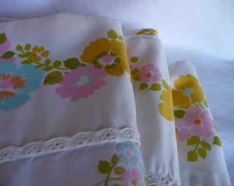 LAST ONE vintage multi colored floral double flat sheet